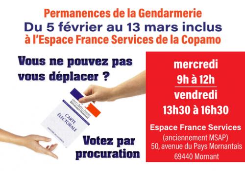 Permanences procuration de la Gendarmerie à l'Espace France Services