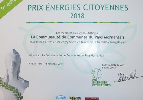 La Copamo distinguée au Prix Energies Citoyennes